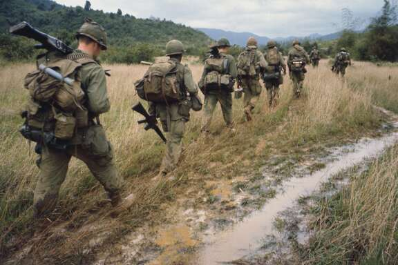 "Soldiers on a search and destroy operation near Qui Nhon. January 17, 1967. Image used in the film ""The Vietnam War"" by Ken Burns and Lynn Novick airing on PBS"