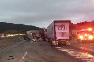 The driver of a big rig crashed on Interstate 580 Thursday morning, according to California Highway Patrol.