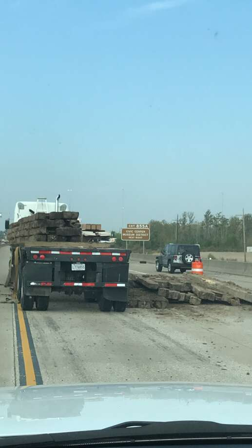 Wooden beams in the roadway have caused severe traffic on Interstate 10 westbound, which is down to one lane. Photo by Texas Department of Public Safety.