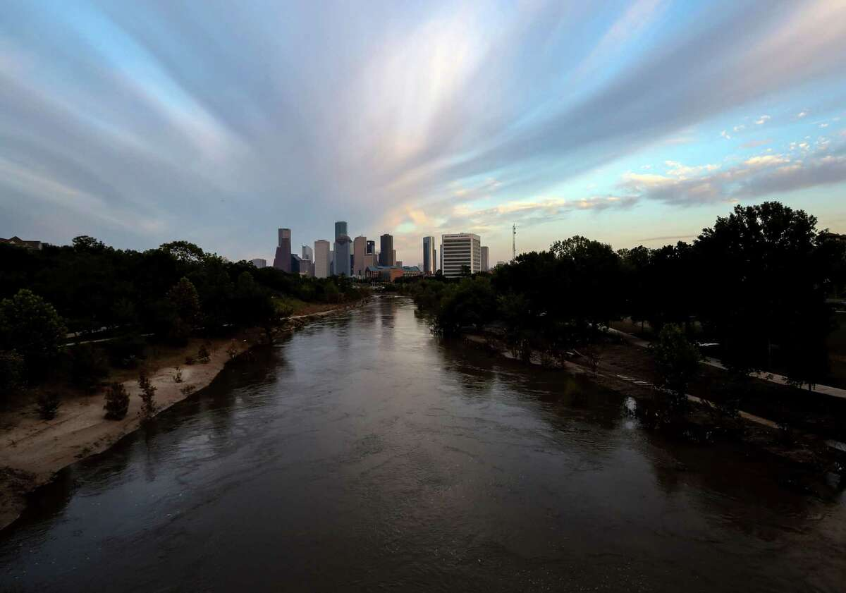 Buffalo Bayou crested at nearly 39 feet during the storm and continues to flow above its banks as releases continue from dams upstream.