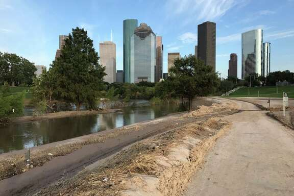 A view of sediment left from Hurricane Harvey's flooding at Buffalo Bayou Park on Tuesday, Sept. 12, 2017.