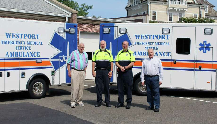 From the left, Russell Blair, Larry Kleinman, Yves Cantin and Martin Iselin of Westport Volunteer Emergency Medical Services in Westport, Conn. on Sept. 12, 2017 Photo: Erin Kayata / Hearst Connecticut Media / Darien News