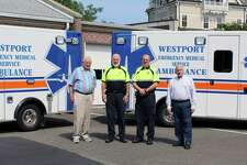 From the left, Russell Blair, Larry Kleinman, Yves Cantin and Martin Iselin of Westport Volunteer Emergency Medical Services in Westport, Conn. on Sept. 12, 2017
