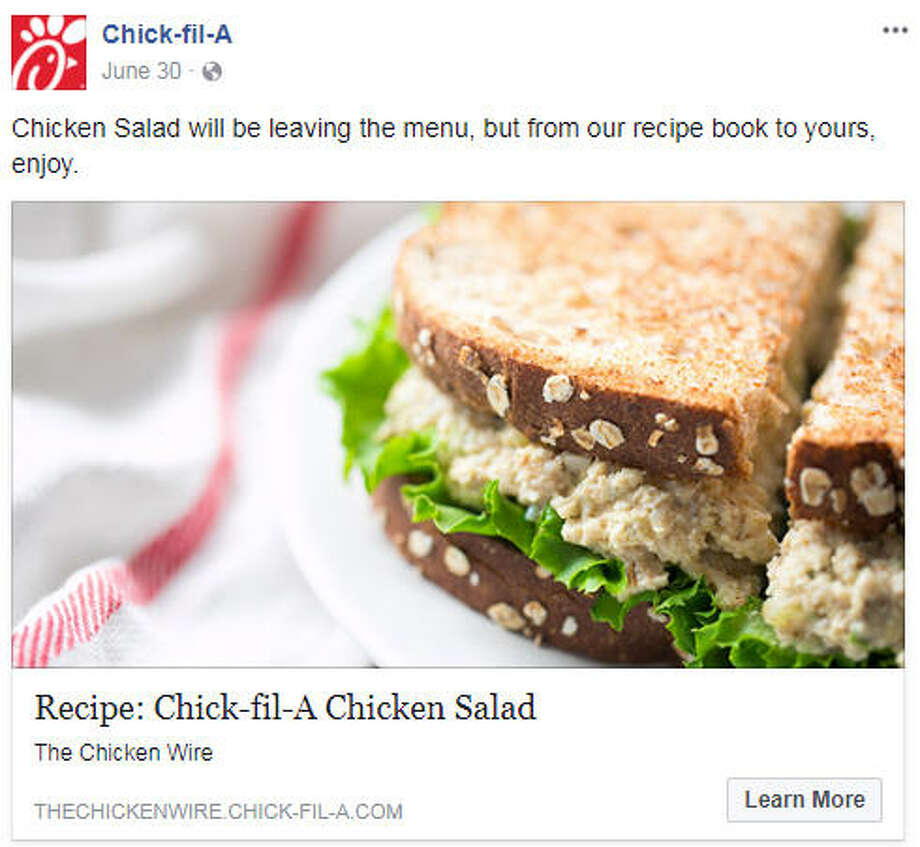 Chick-fil-A lovers, you have until the end of the month to enjoy a beloved menu item, the Chicken Salad Sandwich.>>Here is a list of of the 15 healthiest fast-food menu items...