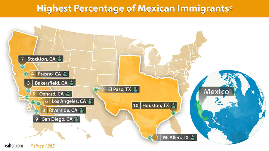 Areas with the highest percentage of Mexican immigrants Photo: Claire V. Widman