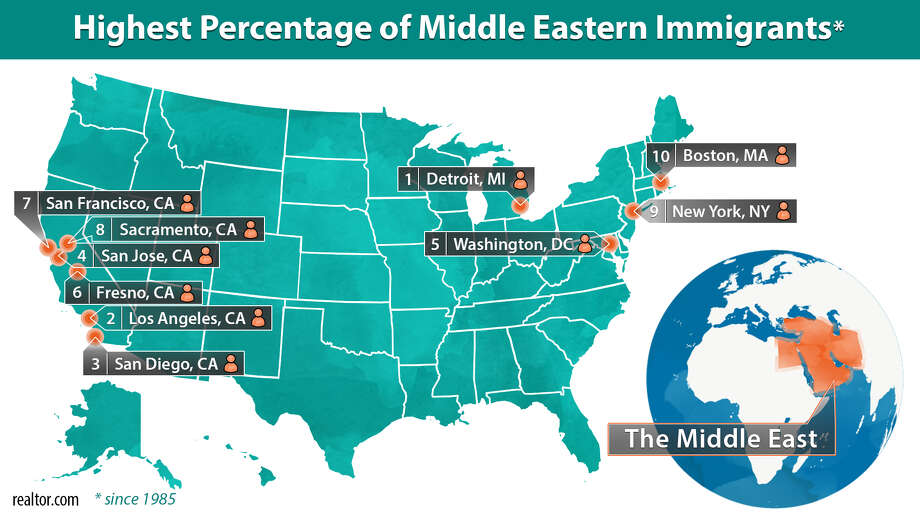 Areas with the highest percentage of Middle Eastern residents Photo: Claire V. Widman