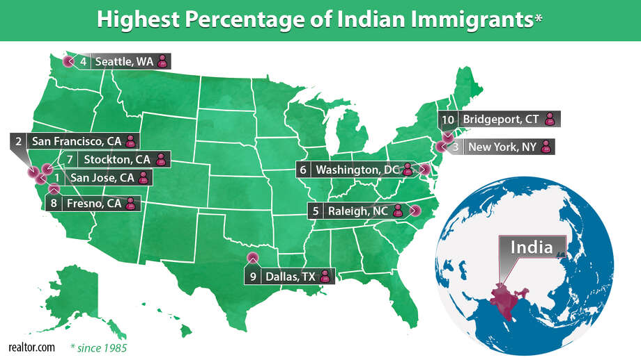 Areas with the highest percentage of Indian immigrants Photo: Claire V. Widman