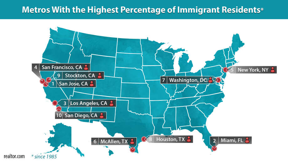 Areas with the highest percentage of immigrant residents Photo: Claire V. Widman