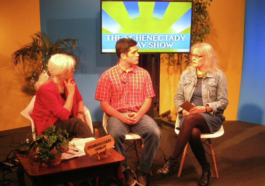 """Ann Parillo, left, on the set of a recent """"Schenectady Today"""" show with Michael Diana, education and program manager for the Schenectady Historical Society, and Kat Wolfram, president of the Electric City Food Co-Op. (Schenectady Today photo) Photo: Richard Lovrich/Proctors"""