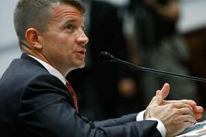 WASHINGTON - OCTOBER 02:  Erik Prince, chairman of the Prince Group, LLC and Blackwater USA, testifies during a House Oversight and Government Reform Committee hearing on Capitol Hill October 2, 2007 in Washington DC. The committee is hearing testimony from officials regarding private security contracting in Iraq and Afghanistan.  (Photo by Mark Wilson/Getty Images)