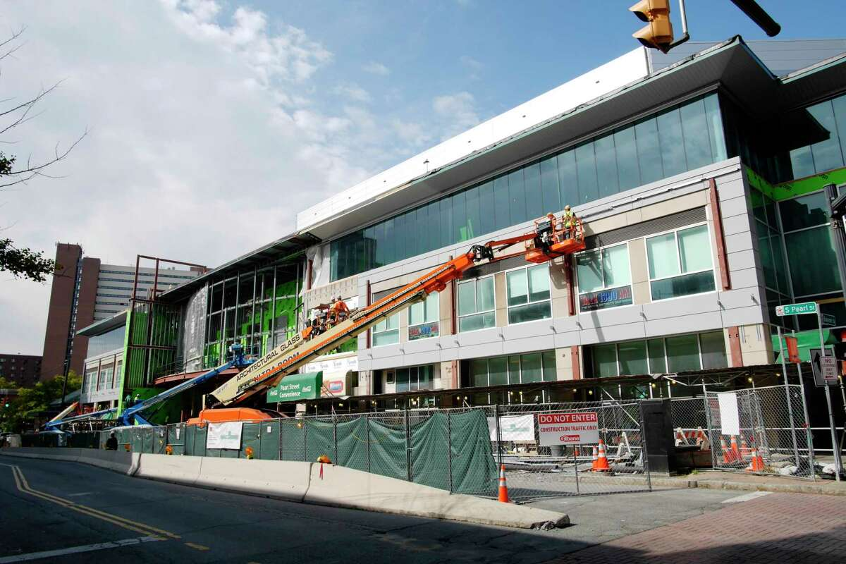 A view of the ongoing construction work at the TU Center on Thursday, Sept. 14, 2017, in Albany, N.Y. The $19.6 million renovation plan will add LED screens, a new glass elevator, new escalators, a three-story waterfall, plant life and climate control to the newly enclosed atrium area. The work is expected to be completed this fall. (Paul Buckowski / Times Union)