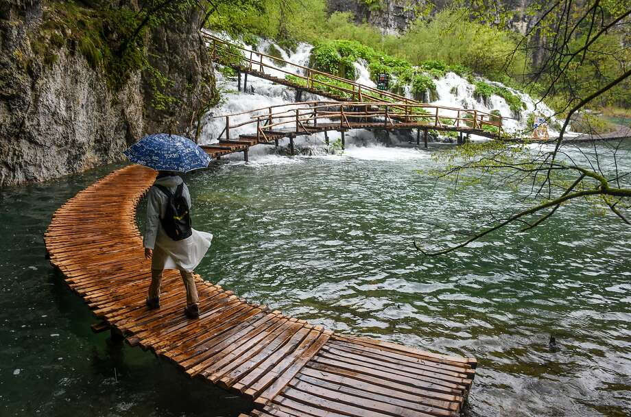 Plitvice National Park waterfalls during a rain storm. Photo: Margo Pfeiff, Special To The Chronicle
