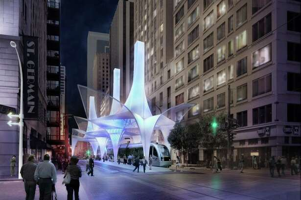 """A design by SHoP is shown during a showing of designs for a new light rail transfer station in Houston. Now, imagine something like this in San Antonio. Josh Brodesky has and he calls it the """"Tech Runner,"""" coming into being after the city lands an Amazon headquarters."""