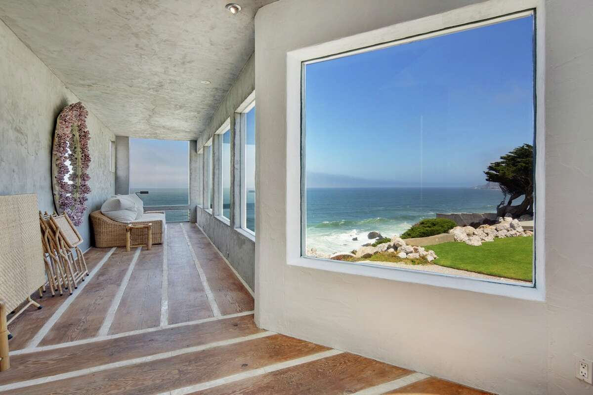 A striking concrete villa at 8322 Cabrillo Hwy. in Montara, Calif., just 20 minutes south of San Francisco, is on the market for $6.5 million.