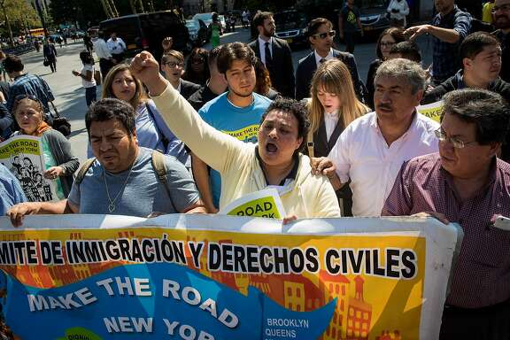 NEW YORK, NY - SEPTEMBER 14: Immigration rights activists rally during a protest before a court hearing challenging the Trump administration's termination of the Deferred Action for Childhood Arrivals (DACA) program, September 14, 2017 in the Brooklyn borough of New York City. A court hearing was scheduled for this afternoon in a lawsuit brought last year on behalf of Martin Batalla Vidal, who came to the United States from Mexico with his parents when he was 7 years old. (Photo by Drew Angerer/Getty Images)