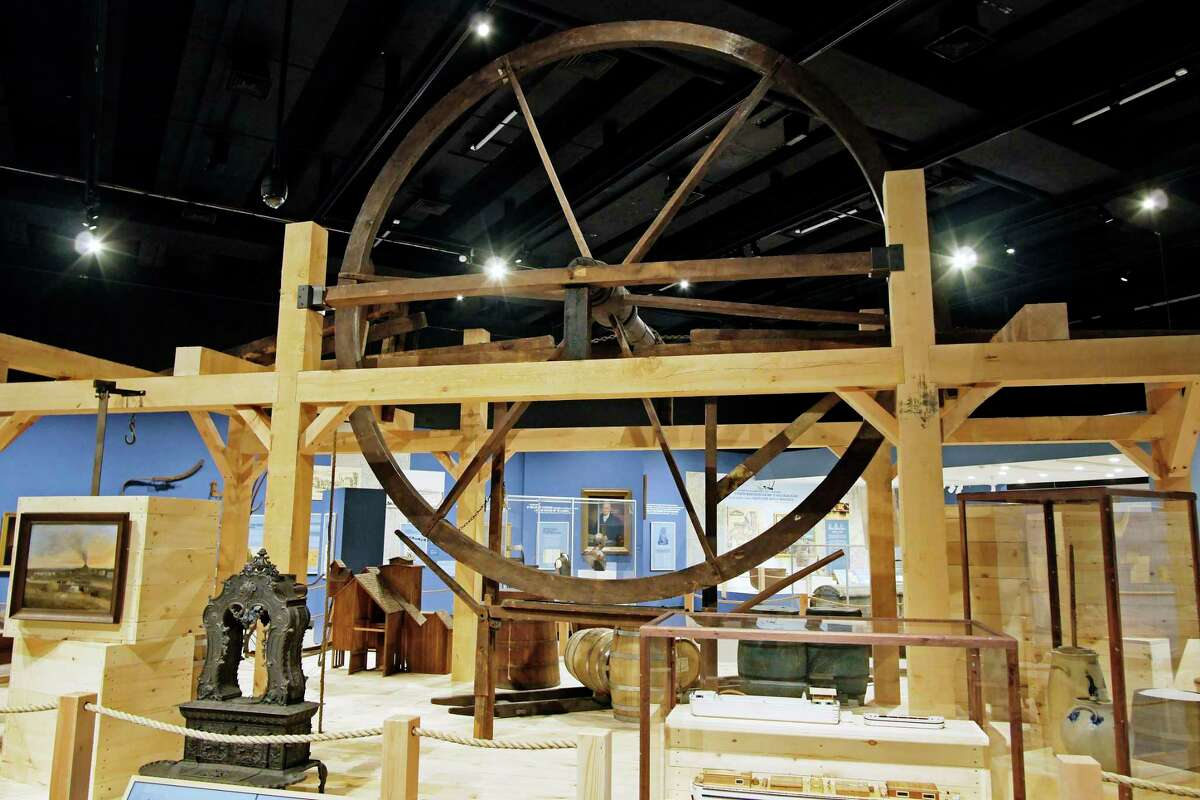 A view of a windlass from the H.G. Root and Company warehouse which is part of the Enterprising Waters: New York's Erie Canal exhibit at the New York State Museum on Thursday, Sept. 14, 2017, in Albany, N.Y. The windlass is a device that was used to lift heavy loads. (Paul Buckowski / Times Union)