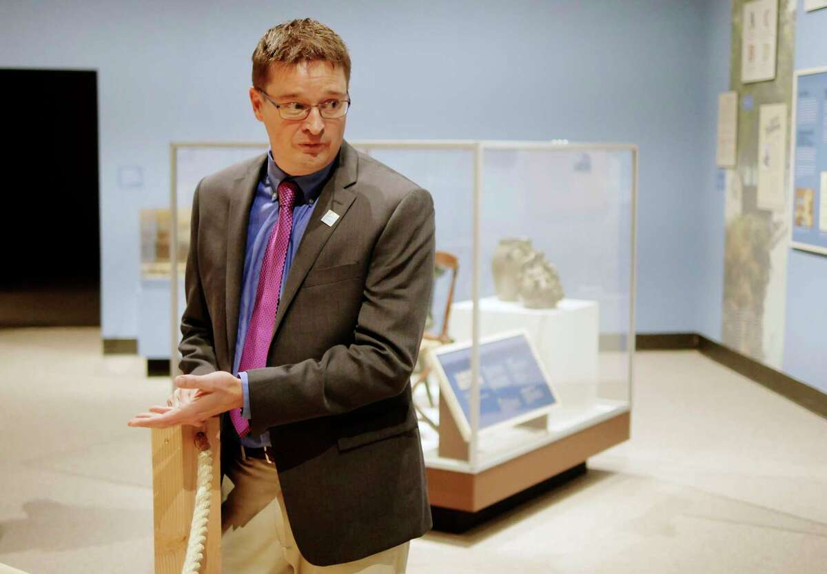 Brad Utter, a senior historian at the New York State Museum, gives a tour of the Enterprising Waters: New York's Erie Canal exhibit at the New York State Museum on Thursday, Sept. 14, 2017, in Albany, N.Y. (Paul Buckowski / Times Union)