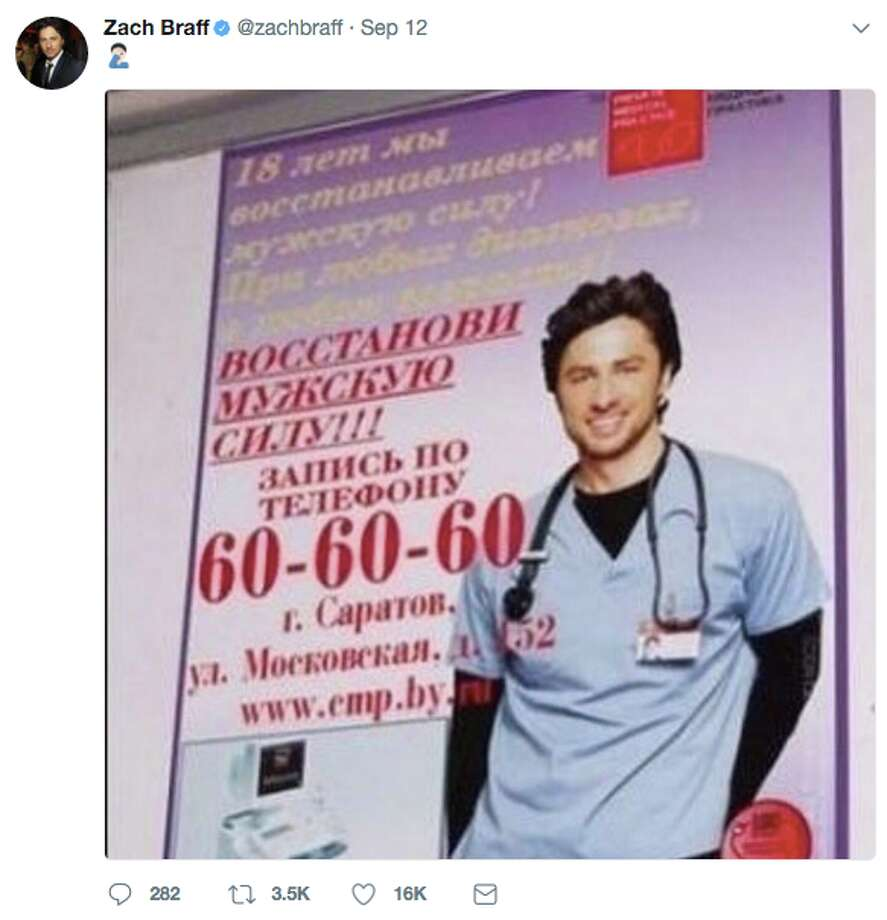 The likeness of Zach Braff was used on a Russian advertisement for erectile dysfunction. He's not the only celebrity whose image has been used, likely without permission, to promote a product. Photo: Twitter Screen Grab