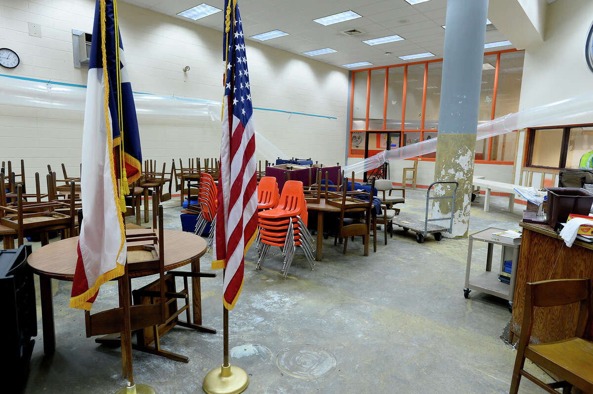Flood damage in the library at Vidor Middle School.Click through to see post-Harvey damage to SE Texas-area schools.