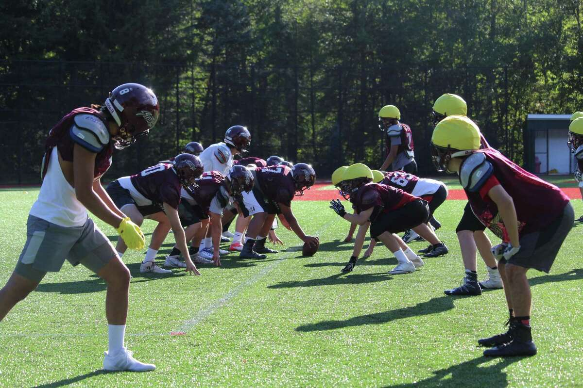 St. Luke's lines up for a play during practice last Friday.