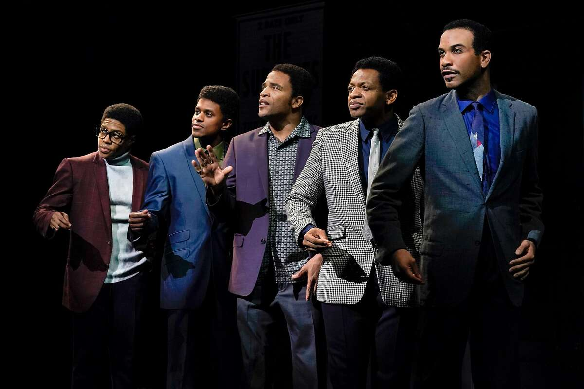 """From left:�Ephraim Sykes as David Ruffin, Jeremy Pope as Eddie Kendricks, James Harkness as Paul Williams, Derrick Baskin as Otis Williams and Jared Joseph as Melvin Franklin�in """"Ain�t Too Proud � The Life and Times of the Temptations"""" at Berkeley Repertory Theatre."""