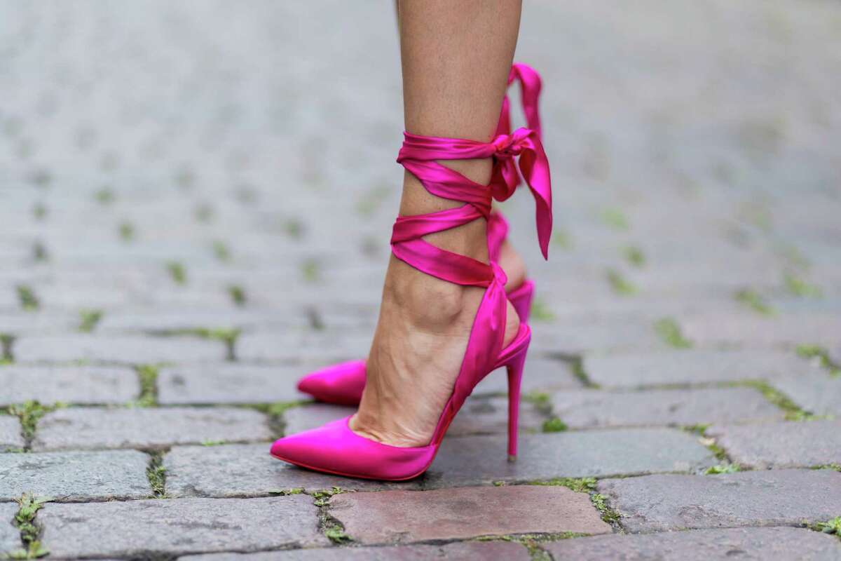 Ballerina ties might look intimidating, but are not that hard to pull off. The shoe can be romantic or help you play up a sexier vibe, like these Christian Louboutin Douce du Desert pink stilettos.
