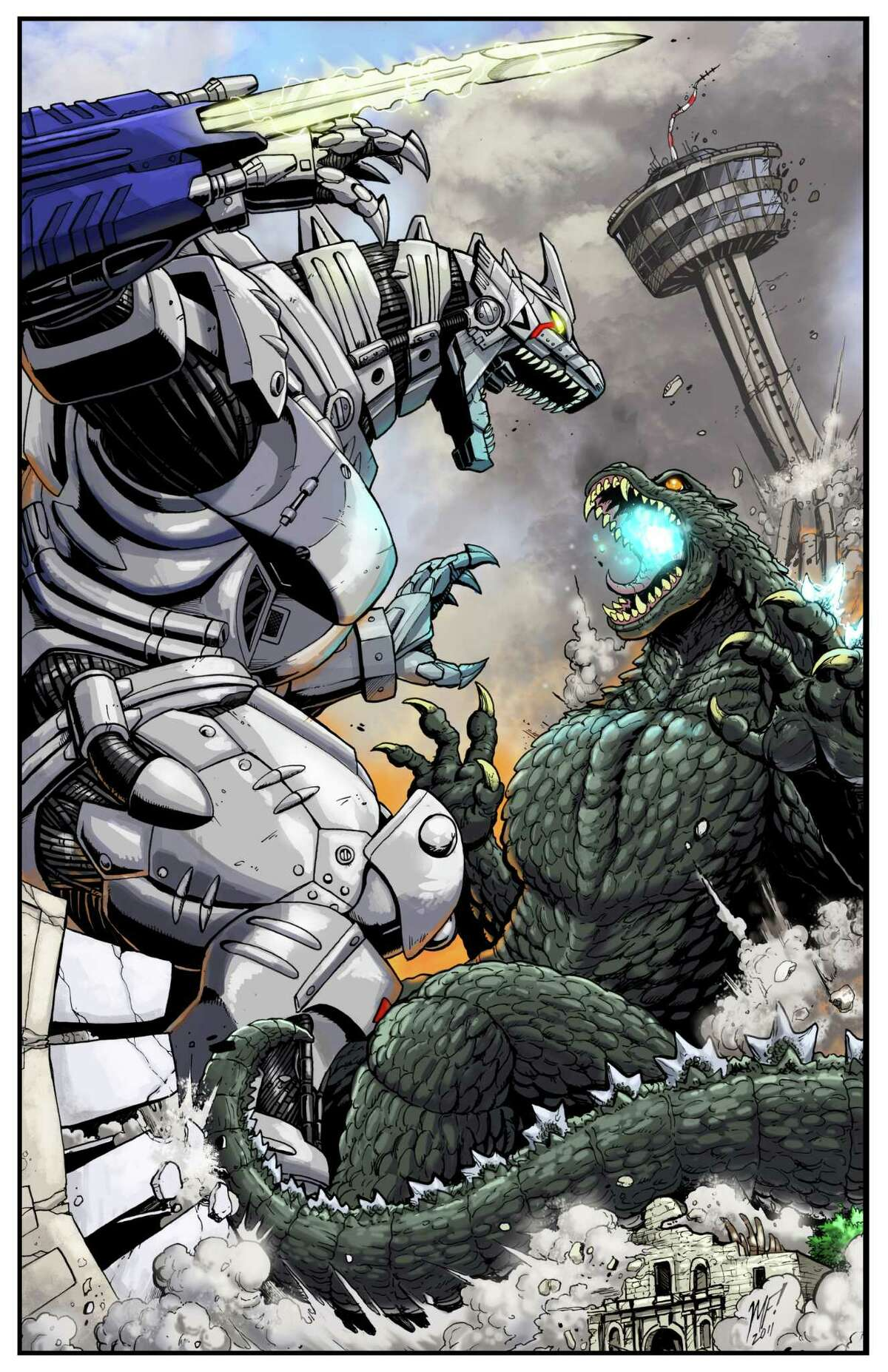 Godzilla vs. Mechagodzilla, art by San Antonio, Texas, native Matt Frank.