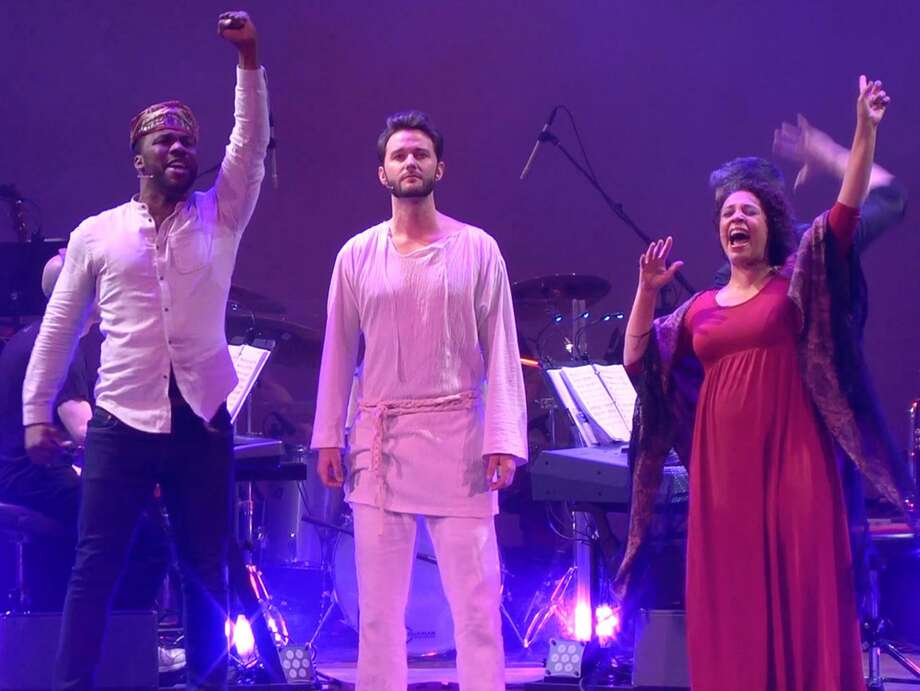 "A Contemporary Theatre production of ""Jesus Christ Superstar"" at the Ridgefield Playhouse featured J. Daughtry as Simon, left, Matthew Hydzik as Jesus and Shayna Steele as Mary. Photo: A Contemporary Theatre / Contributed Photo / Connecticut Post Contributed"