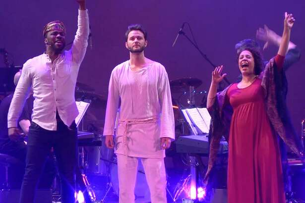 """A Contemporary Theatre production of """"Jesus Christ Superstar"""" at the Ridgefield Playhouse featured J. Daughtry as Simon, left, Matthew Hydzik as Jesus and Shayna Steele as Mary."""