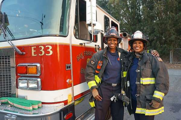 Engine 33 Lt. Shelia Hunter (right) and daughter, firefighter Khristina Hunter (left) working together for the first time. Sept 1, 2017 Julie Mau