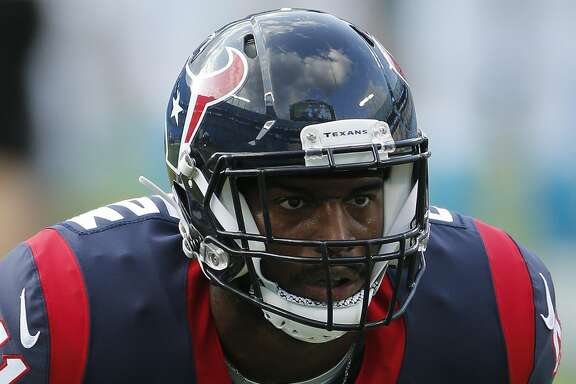Houston Texans linebacker Zach Cunningham (41) warms up before the first half of an NFL preseason football game between the Carolina Panthers and the Houston Texans, Wednesday, Aug. 9, 2017, in Charlotte, N.C. (AP Photo/Jason E. Miczek)