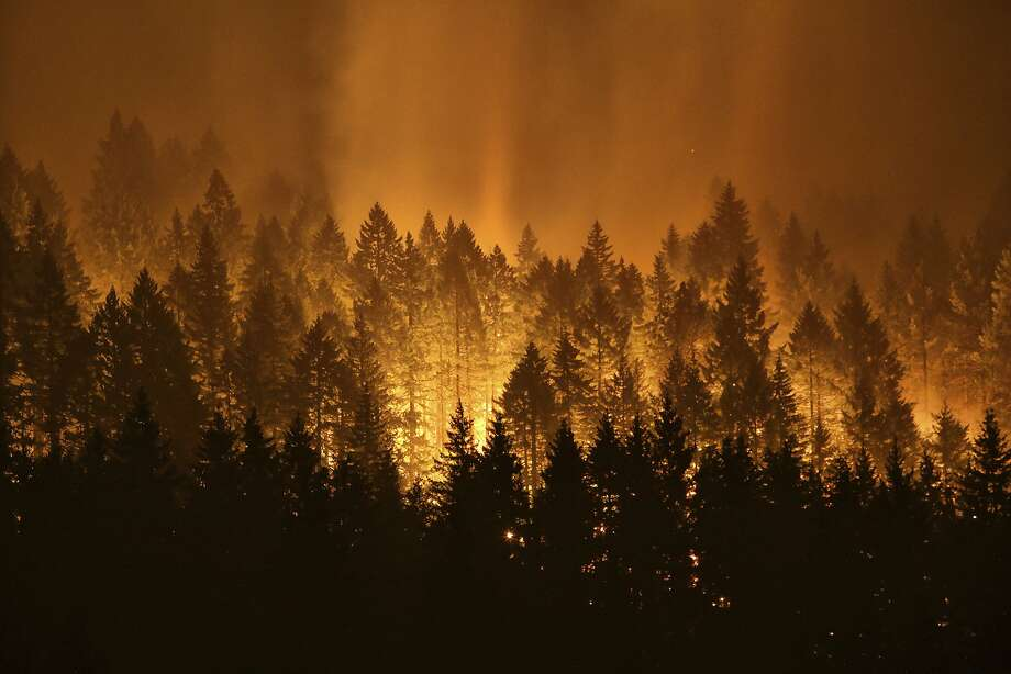 FILE - In this Sept. 5, 2017, file photo, the Eagle Creek wildfire burns on the Oregon side of the Columbia River Gorge near Cascade Locks, Ore. An Oregon lawmaker has lashed out at restrictions on logging, blaming them for the intensity of wildfires plaguing much of the U.S. West. (Genna Martin /seattlepi.com via AP) Photo: Genna Martin, Associated Press