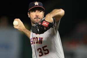ANAHEIM, CA - SEPTEMBER 12:  Justin Verlander #35 of the Houston Astros pitches during the first  inning of a game against the Los Angeles Angels of Anaheim at Angel Stadium of Anaheim on September 12, 2017 in Anaheim, California.  (Photo by Sean M. Haffey/Getty Images)