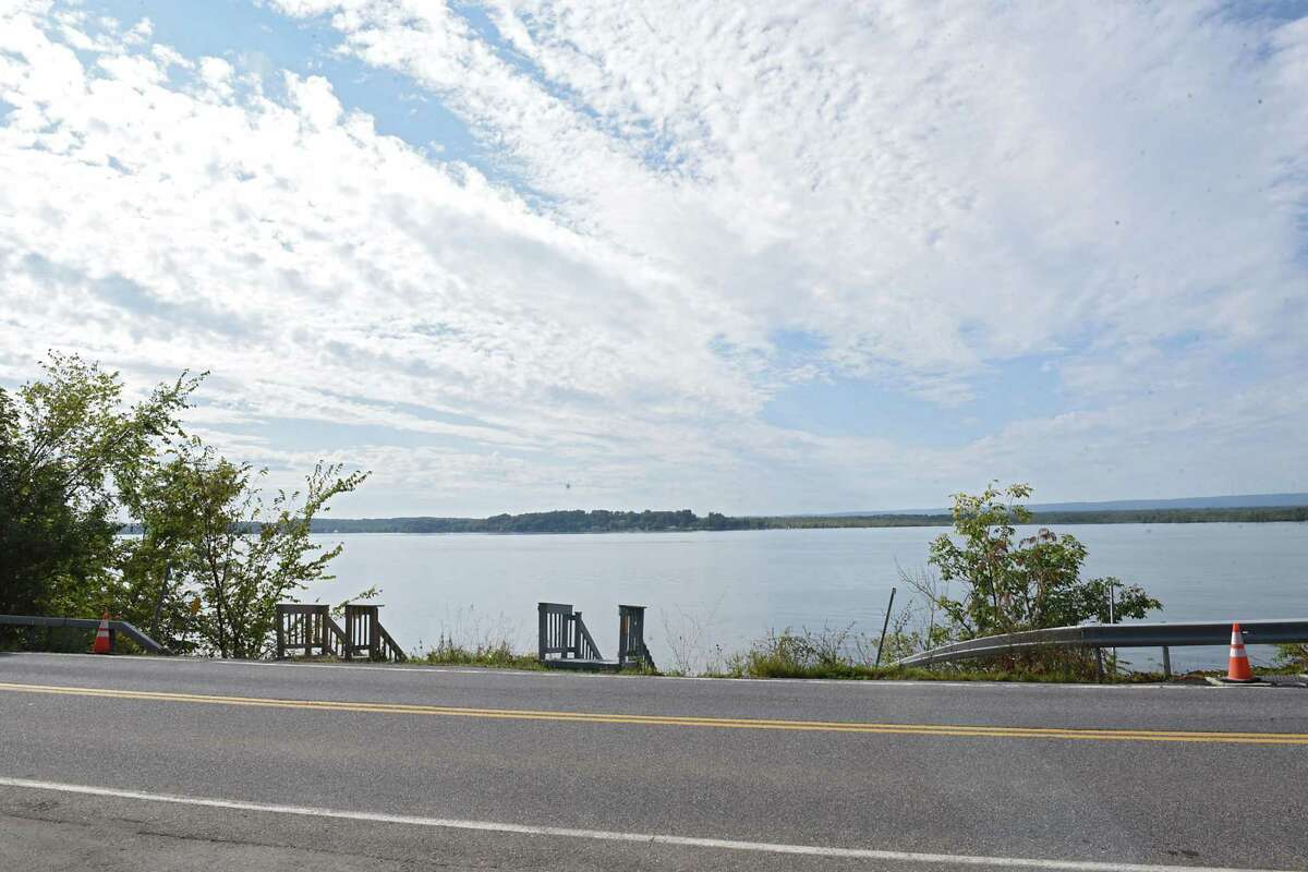 View from the front of Barbara Faraone's home on Saratoga Lake, an area where route 9P is collapsing under the weight of traffic due to increased development on the lake. (Lori Van Buren / Times Union)