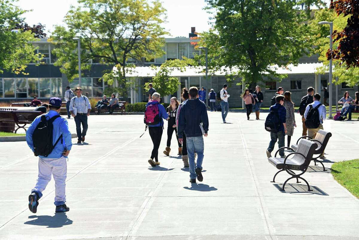 Students walk on campus at Hudson Valley Community College on Wednesday, Oct. 5, 2016 in Troy, N.Y. (Lori Van Buren / Times Union archive)