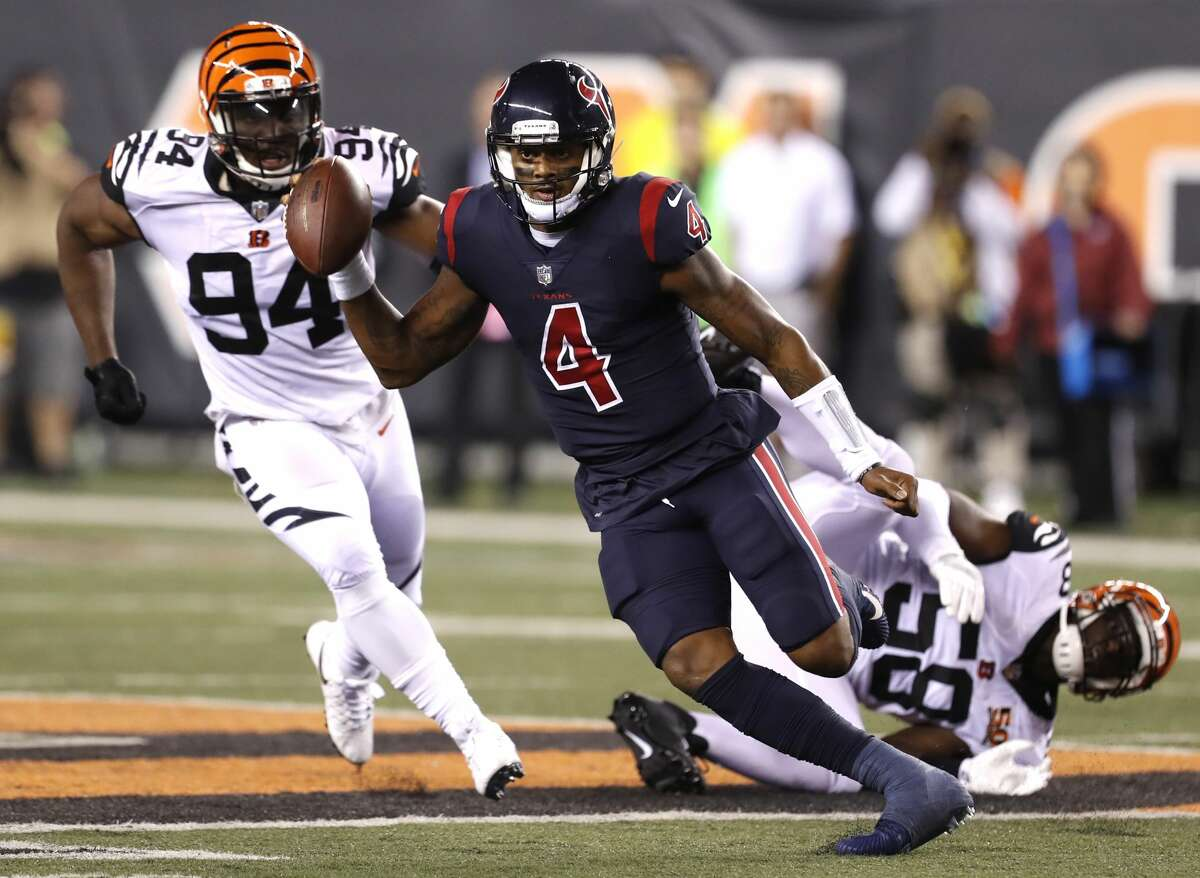 JOHN McCLAIN GRADES THE TEXANS Quarterback Deshaun Watson, making his first start on his 22nd birthday, scored the only touchdown on a 49-yard run. Watson, who didn't commit a turnover, led a crucial field goal drive on the Texans' last series. Grade: C