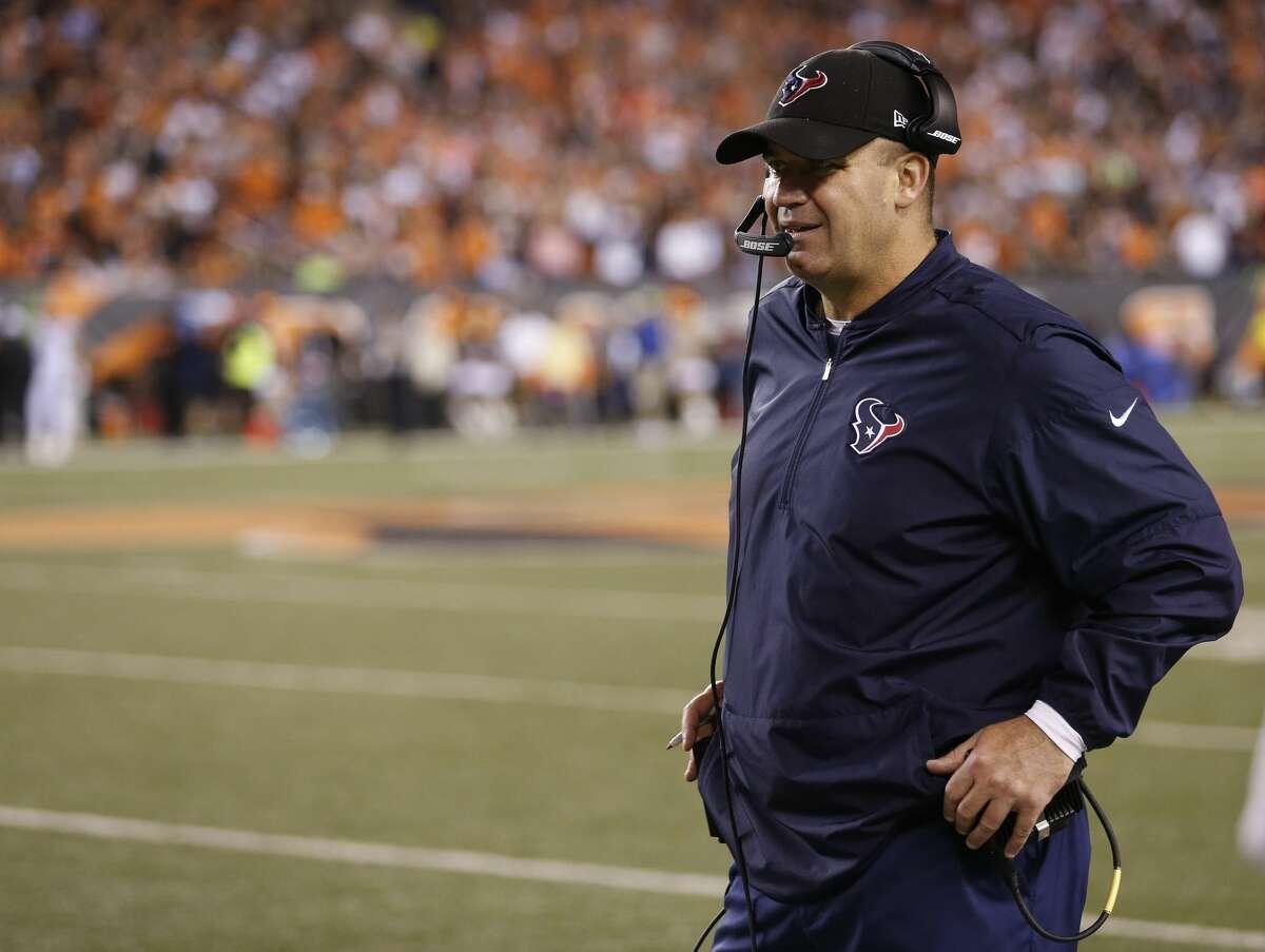 Houston Texans head coach Bill O'Brien during the third quarter of an NFL football game at Paul Brown Stadium on Thursday, Sept. 14, 2017, in Cincinnati. ( Brett Coomer / Houston Chronicle )