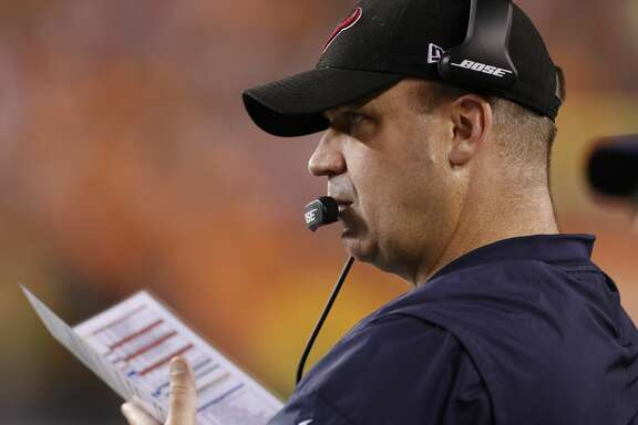 Houston Texans head coach Bill O'Brien during the second quarter of an NFL football game at Paul Brown Stadium on Thursday, Sept. 14, 2017, in Cincinnati. ( Brett Coomer / Houston Chronicle )
