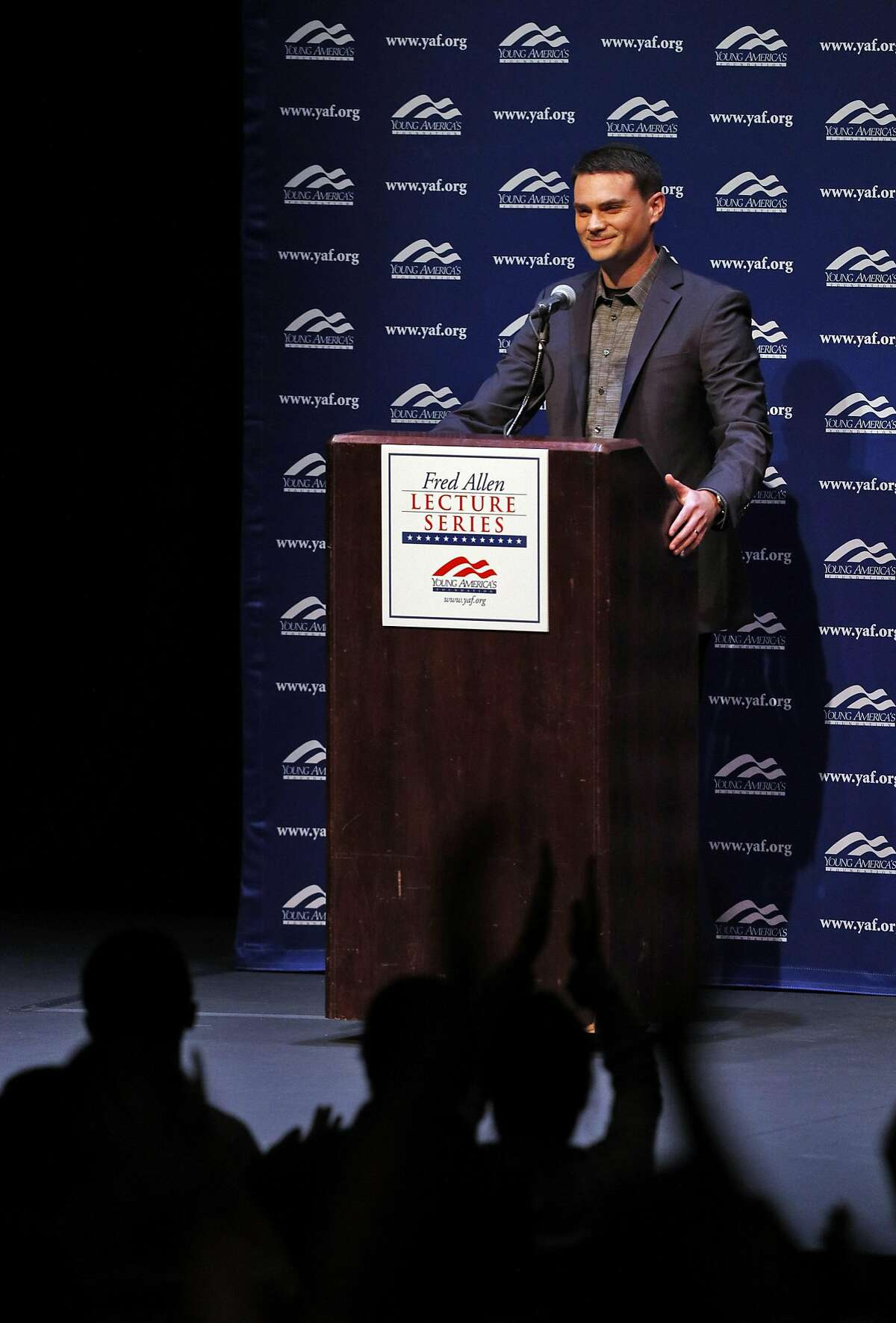Conservative political commentator Ben Shapiro gets a standing ovation before he speaks at Zellerbach Hall on the UC Berkeley campus in Berkeley, Calif., on Thursday, September 14, 2017.