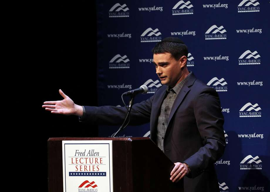 Conservative political commentator Ben Shapiro speaks at Zellerbach Hall on the UC Berkeley campus in Berkeley, Calif., on Thursday, September 14, 2017. Photo: Carlos Avila Gonzalez, The Chronicle