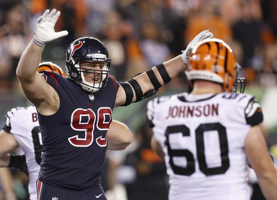 Houston Texans defensive end J.J. Watt (99) celebrates as he comes off the field during the fourth quarter against the Cincinnati Bengals of an NFL football game at Paul Brown Stadium on Thursday, Sept. 14, 2017, in Cincinnati. ( Brett Coomer / Houston Chronicle ) Photo: Brett Coomer/Houston Chronicle
