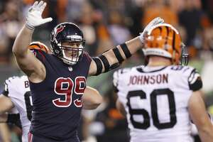 Houston Texans defensive end J.J. Watt (99) celebrates as he comes off the field during the fourth quarter against the Cincinnati Bengals of an NFL football game at Paul Brown Stadium on Thursday, Sept. 14, 2017, in Cincinnati. ( Brett Coomer / Houston Chronicle )