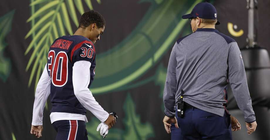 Houston Texans cornerback Kevin Johnson (30) walks back to the locker room after being injured on a play during the third quarter of an NFL football game at Paul Brown Stadium on Thursday, Sept. 14, 2017, in Cincinnati. ( Brett Coomer / Houston Chronicle ) Photo: Brett Coomer/Houston Chronicle