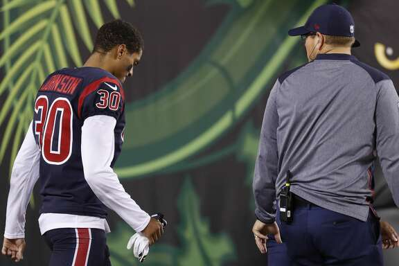Houston Texans cornerback Kevin Johnson (30) walks back to the locker room after being injured on a play during the third quarter of an NFL football game at Paul Brown Stadium on Thursday, Sept. 14, 2017, in Cincinnati. ( Brett Coomer / Houston Chronicle )