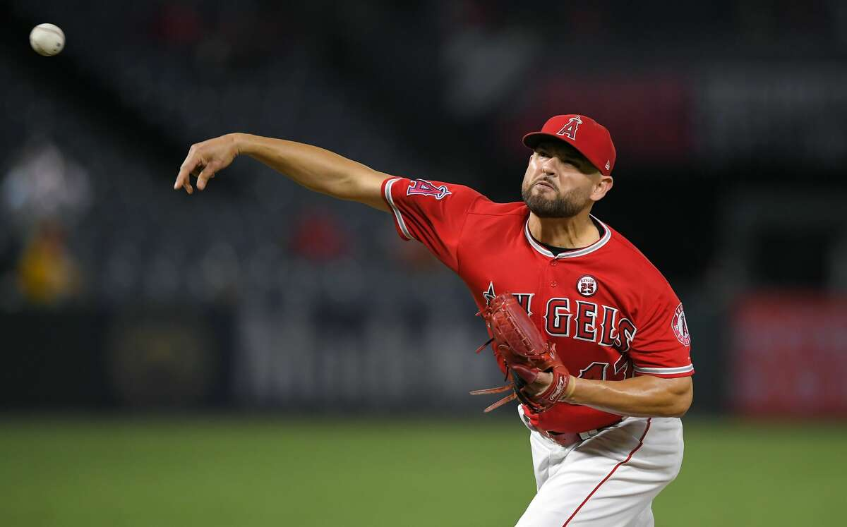 Los Angeles Angels starting pitcher Ricky Nolasco throws during the first inning of a baseball game against the Houston Astros, Thursday, Sept. 14, 2017, in Anaheim, Calif. (AP Photo/Mark J. Terrill)