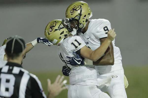 Klein Collins Tigers Alexander Brown (9) celebrates with Carter Rhyne (11) after a touchdown in the fourth quarter during the high school football game between Klein Collins Tigers and the Lamar Texans at Delmar Stadium in Houston, TX on Thursday, September 14, 2017.