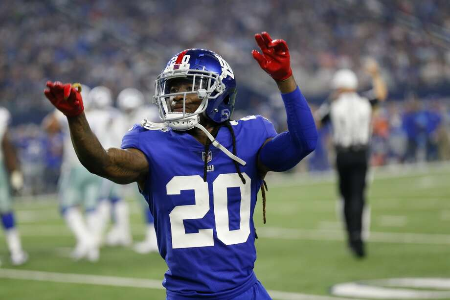 New York Giants cornerback Janoris Jenkins (20) gestures as he reacts to a play against the Dallas Cowboys during an NFL football game, Sunday, Sept. 10, 2017, in Arlington, Texas. (AP Photo/Roger Steinman) Photo: Roger Steinman/Associated Press