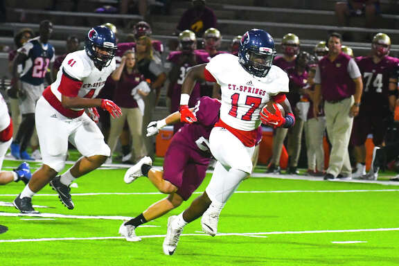 Cy Springs' Wing-T offense soared Thursday night at Ken Pridgeon Stadium, as Jah'marae Shepherd (2) racked up 127 all-purpose yards and two touchdowns and the Panthers defeated the Wildcats 27-9. Thursday marked the first time in 10 meetings that Cy Springs managed to edge Cy Woods.