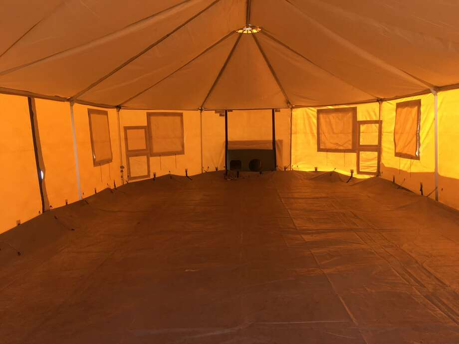 A look inside one of 250 tents that will house Harvey evacuees in Port Arthur. Sept. 15, 2017.