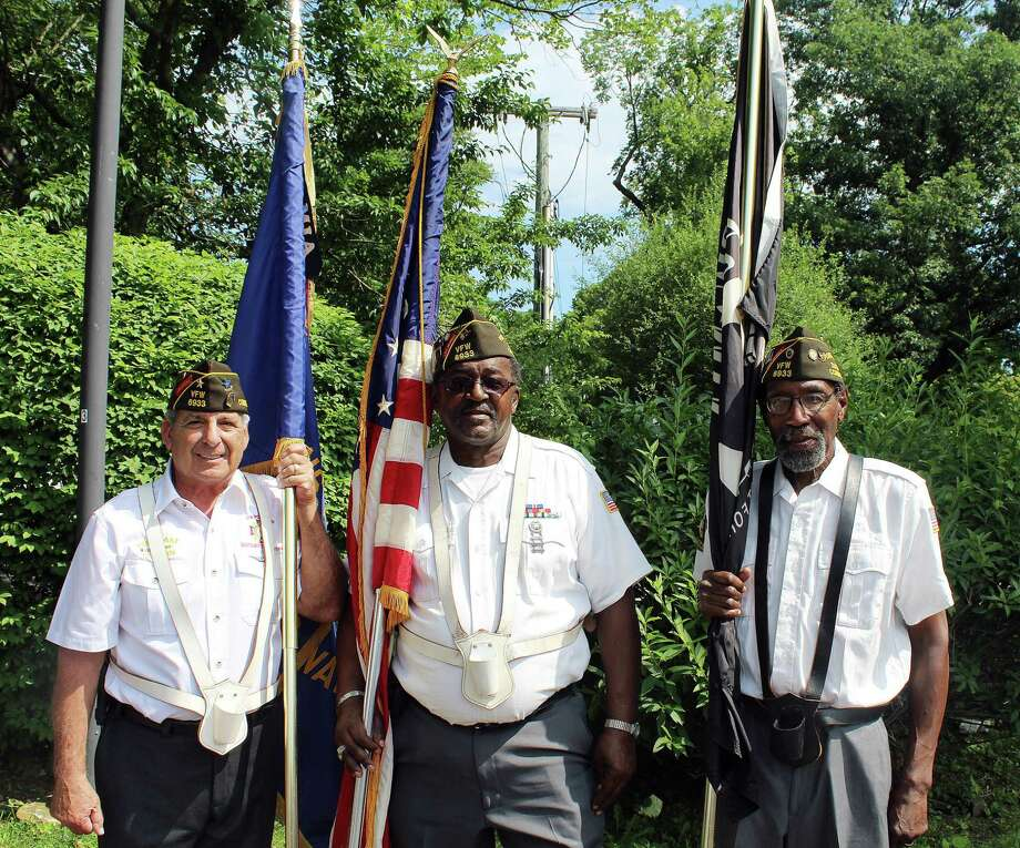 VFW members Anthony Alves (left), Lenny Hunter (center) and Dennis Clayburn (right) at the 13th Annual 4th of July Push-N-Pull Parade in Darienon July 4, . Photo: Erin Kayata / Hearst Connecticut Media / Darien News